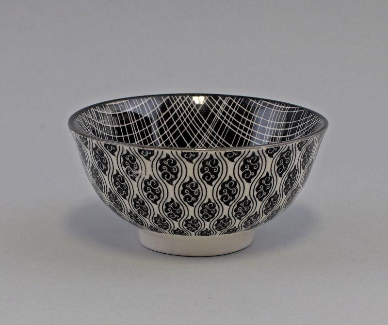 9952365 Schale Schüssel Brillantporzellan Nippon Linien/Paisley schwarz 12x6cm