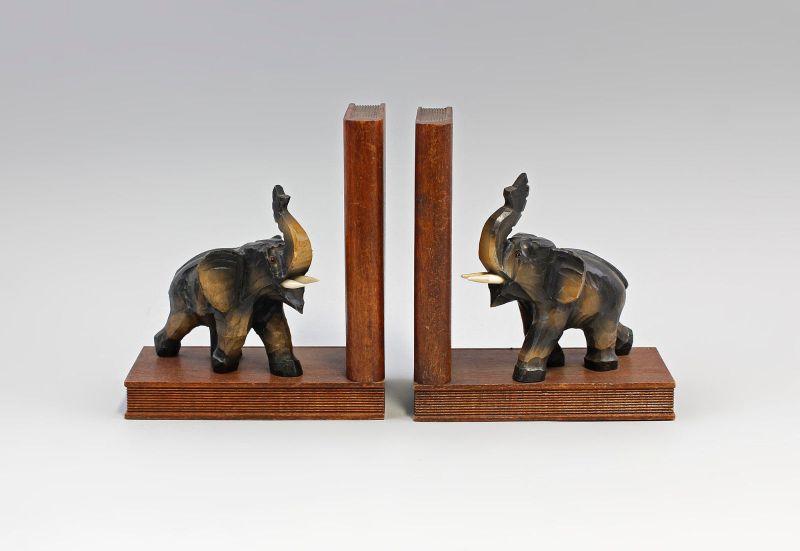Paar Buchstützen Elefanten Holz geschnitzt Mitte 20. Jh.  99838006