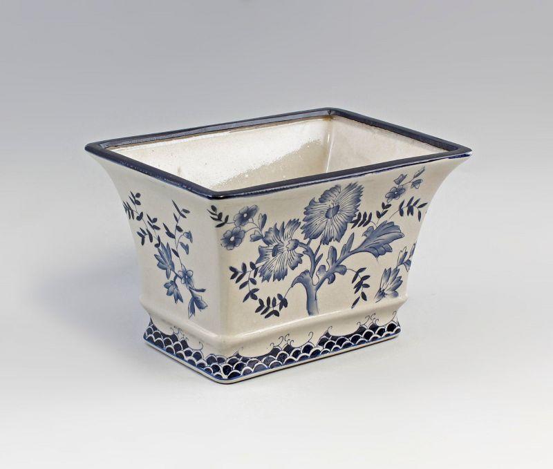9977372 Blumentopf Cachepot Keramik blau eckig L26cm