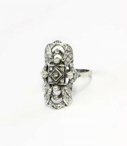 925er Silber Art Déco Ring mit Swarovski-Steinen und Perlen Gr. 57 9901031