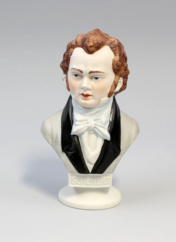 9942318 Porzellan Büste Schubert Bisquit bemalt Wagner & Apel H15cm