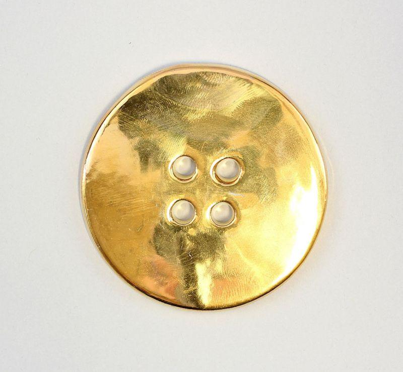 9942339 Porzellan Schmuck-Anhänger Knopf gold Wagner & Apel D6,5cm