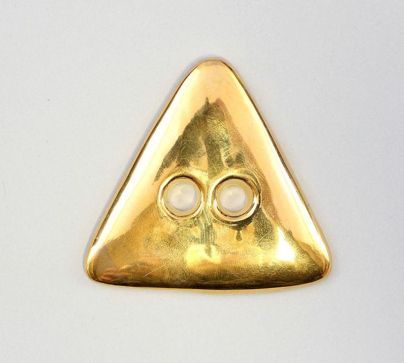9942335 Porzellan Schmuck-Anhänger Knopf Dreieck gold Wagner & Apel D6,5cm