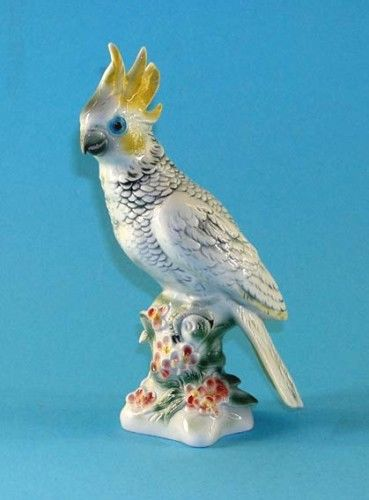 9942134 Wagner & Apel Papagei Kakadu Vogel gelb Porzellan Figur H26cm