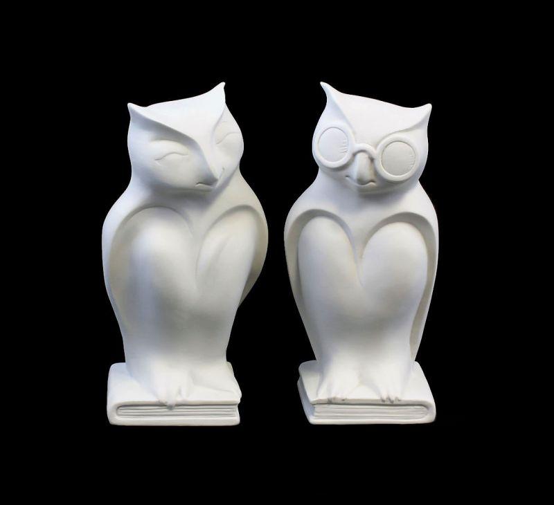 9942305 Porzellan-Figur Eulen-Paar Bisquit Wagner & Apel H19cm