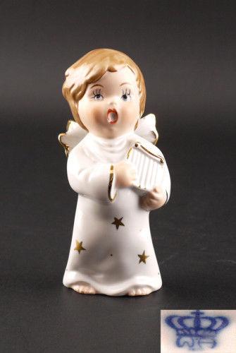 9942155 Porzellan-Figur Wagner & Apel Engel mit Flöte Weihnachten H13cm