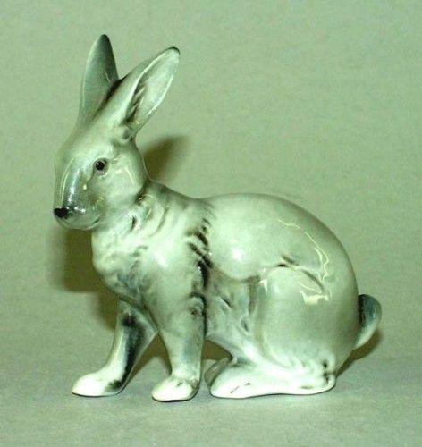 9942191 Porzellan Figur Kleiner Hase Kaninchen grau Wagner & Apel 8x8cm