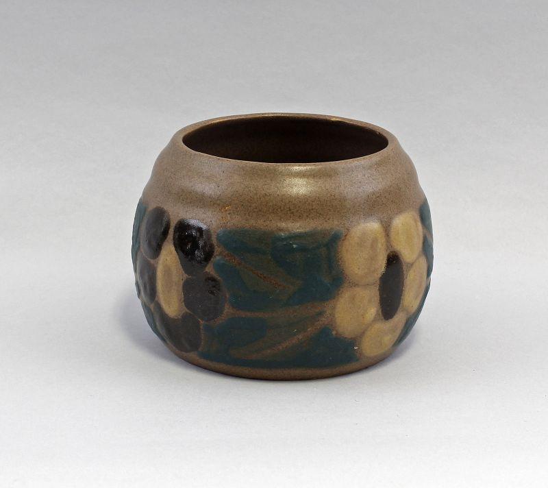 99845129 Keramik Schalen-Vase Bürgel Carl Fischer um 1920 Schlickermalerei