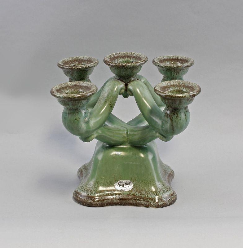 99845122 5-flammiger Keramik Leuchter Jasba Laufglasur Kerzenhalter