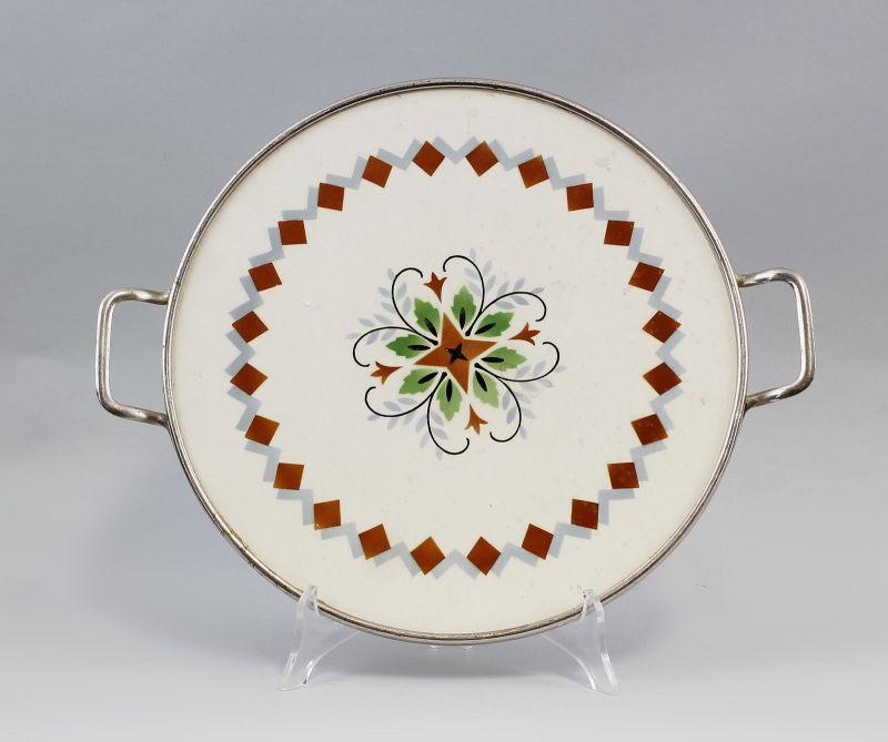 99845070 Keramik Tortenplatte Art déco Spritzdekor um 1920/30
