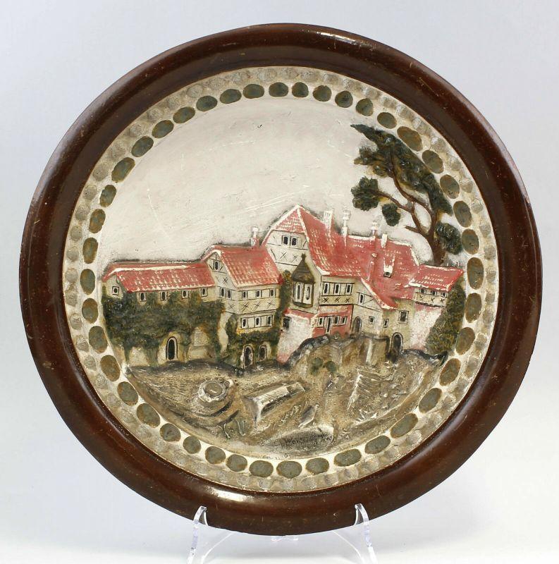 99845498 Keramik Reliefteller Wartburg Eisenach um 1900