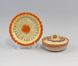 99845255 Keramik Teller und Dose Art déco Westerwald Dümmler&Breiden