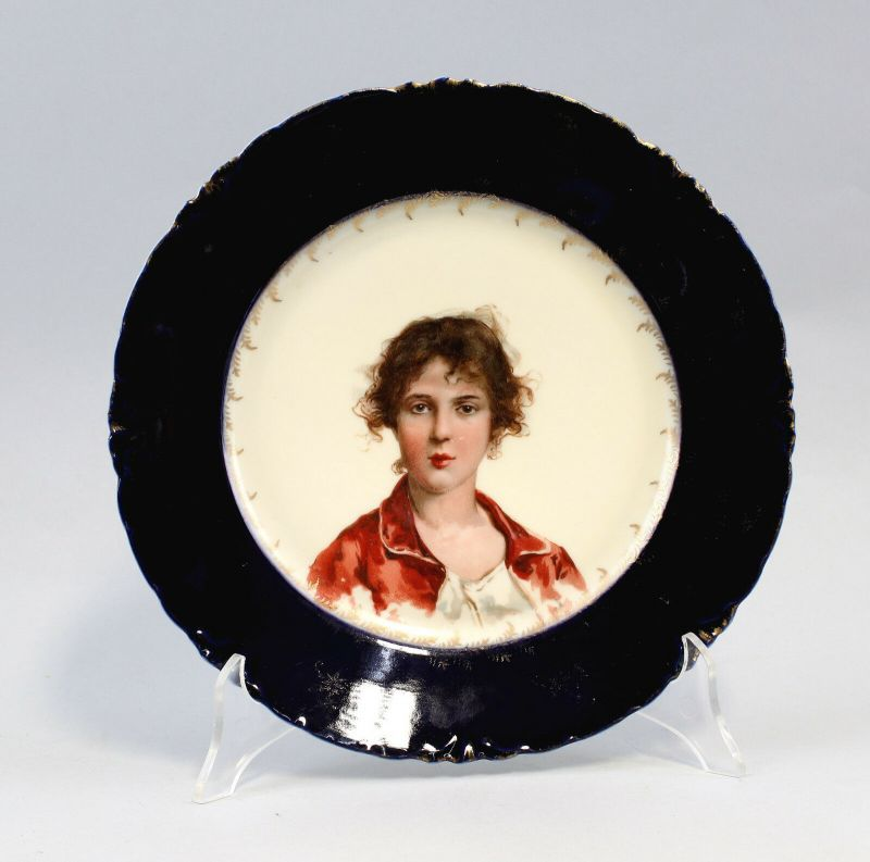 8340048 Porzellan Bildteller Wandteller Rosenthal Dame Porträt Jugendstil Kobalt