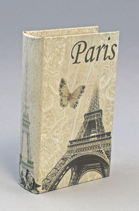 9973124 Schachtel Schatulle Box Buch Dekor Paris Eiffelturm Vintage 13x5x21cm