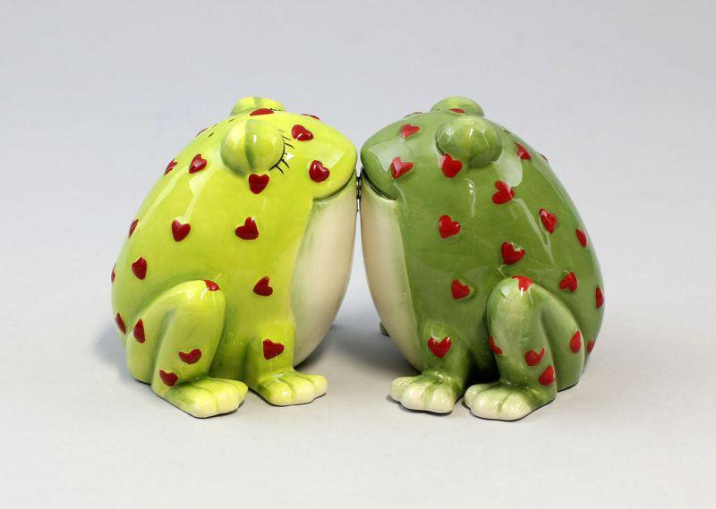 9976024 Salz/Pfeffer Streuer küssende Kröten Horny Toads Frosch Keramik H8cm
