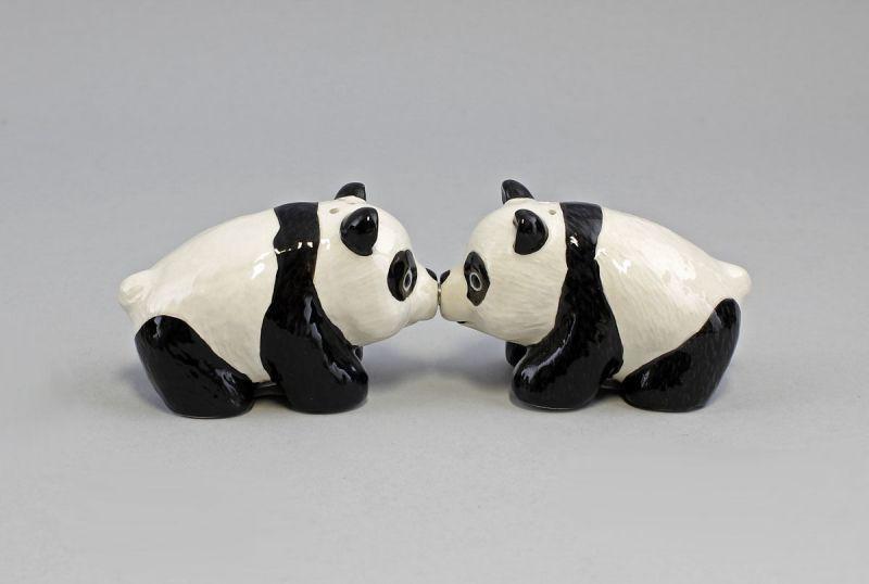 9976108 Paar Salz- u. Pfeffer Streuer Pandas Keramik 8x5x5cm