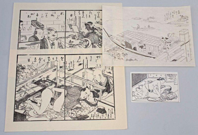 99850011 4 Blätter Shunga Holzschnitte Nachschnitte Japan 20. Jh. Erotik