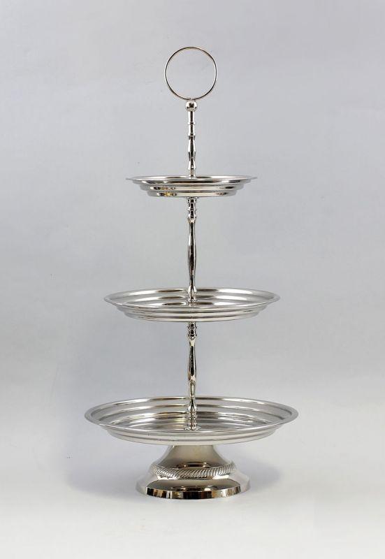 Silberfarbene Etagere 3-stöckig vernickelt NEU  9977324