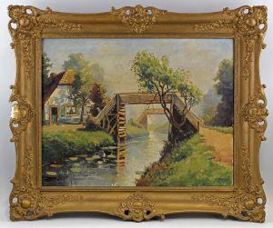 Ölgemälde sign. Heeneman Bäuerliche Idyllische Landschaft mit Brücke 99860109