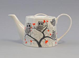 9952477 Tee-Kanne Brillantporzellan Eulr mit Herz  H12cm 1,2L