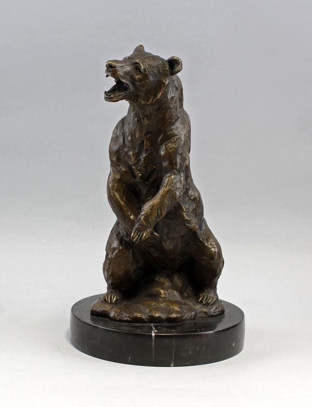 9937741 Bronze-Plastik Skulptur Grizzly-Bär Braunbär sign. Barye 20x36,5cm