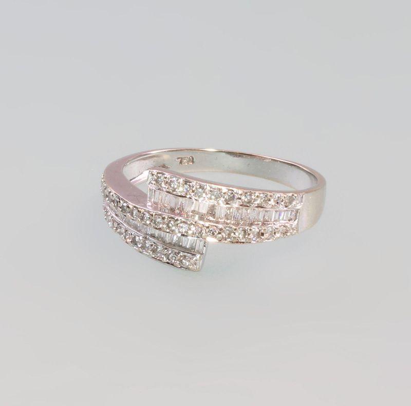 8325182 Geomtrischer Brillant-Ring 750er WG Gold Gr. 55/56