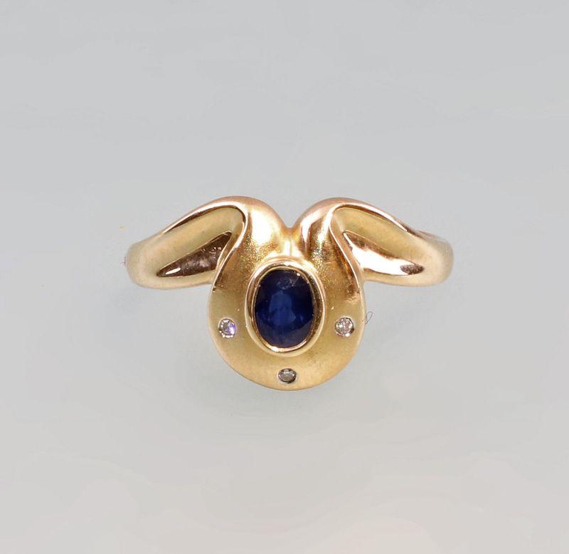 8325190 Saphir-Brillant-Ring 585er Gold Gr. 58