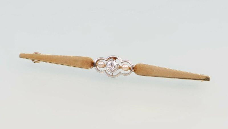 8325184 Brillant-Perlen-Brosche 585er GG Gold