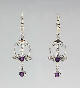 925er Silber Amethyst-Ohrhänger mit Perlen im Jugendstil 8325355