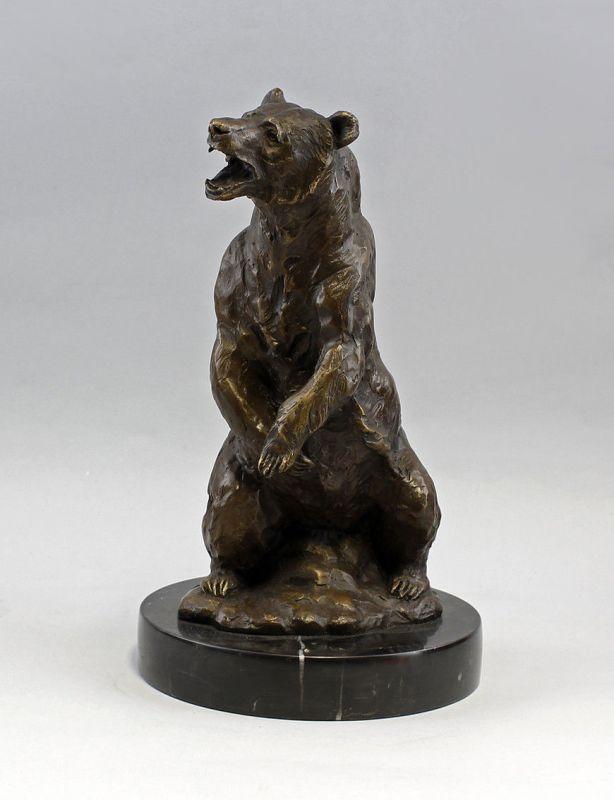 9937741 Bronze Skulptur Grizzly-Bär Braunbär sign. Barye 20x36,5cm