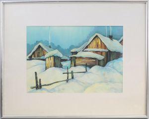 99860032 Ölgemälde signiert Alex Lock Winterliches verschneites Dorf