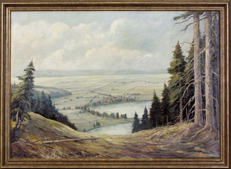 99860159 Öl-Gemälde signiert C. Kauflehner Blick ins Tal Landschaft
