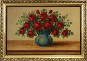 99860191 Öl-Gemälde sign. Hermann Martin 1937 Rosenstillleben