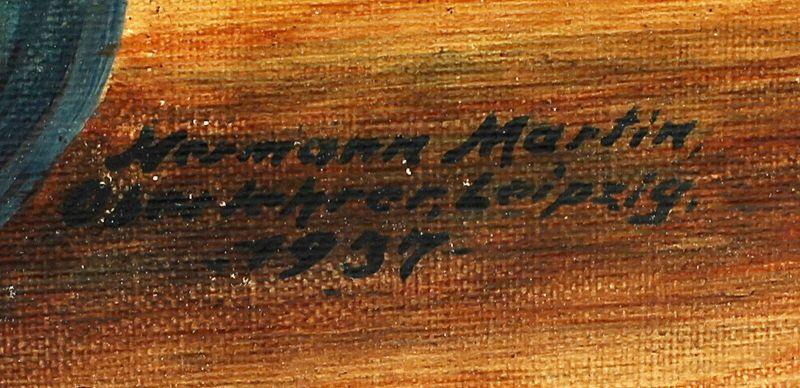 99860191 Öl-Gemälde sign. Hermann Martin 1937 Rosenstillleben 1
