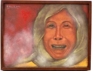 99860071 Öl-Gemälde sign. Dennis Gonzales Civil War in Basilan Philippinen