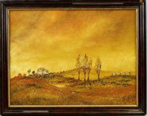 99860167 Öl-Gemälde monogramm. SC Hügel-Landschaft datiert 1980