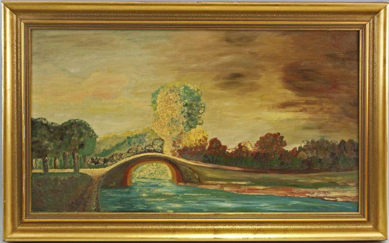 99860169 Öl-Gemälde Landschaft mit Brücke Mitte 20. Jh.