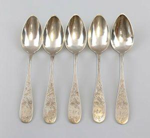 99830225 5 silberne Kaffeelöffel Floraldekor um 1900 800er Silber