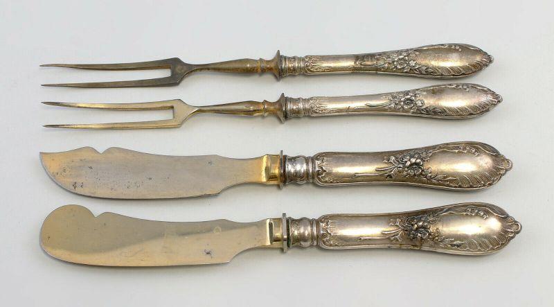 99830226 4 Besteck-Vorlegeteile mit Silbergriffen Gründerzeit 800er Silber