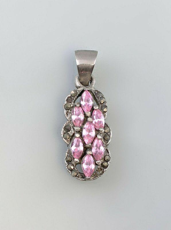 99825510 Anhänger mit rosa Steinen 925er Silber