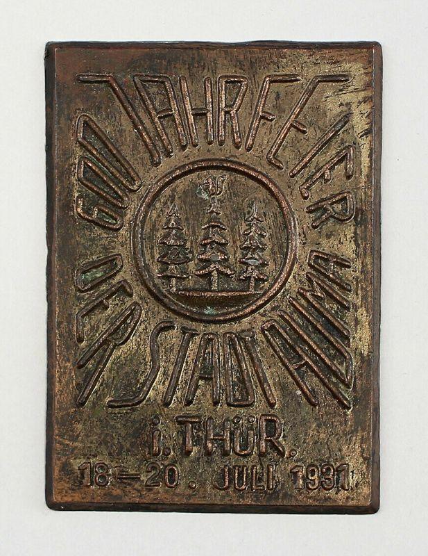99808045 Plakette 600 Jahre Auma Thüringen 1931