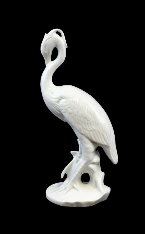 9942021 Porzellan Figur Wagner&Apel Graureiher weiß bisquit H24cm