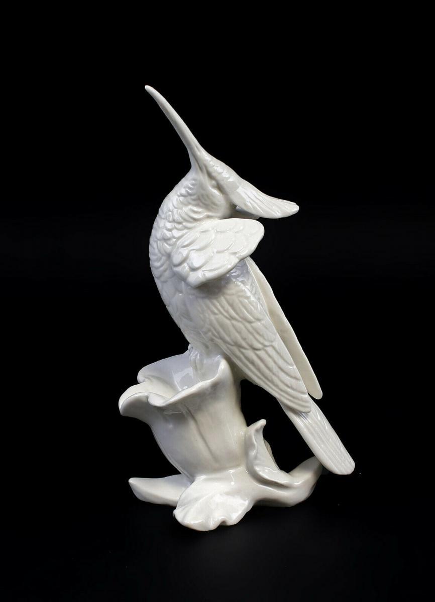 9959359 Porzellan Figur Kolibri weiß Vogel Ens H19cm