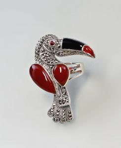 9927164 925er Silber Markasiten Onyx Karneol Ring Tukan Granataugen Gr.56