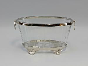 Silber-farbene Schale  Konfekt-Dose vernickelt Glas geschliffen 9977447