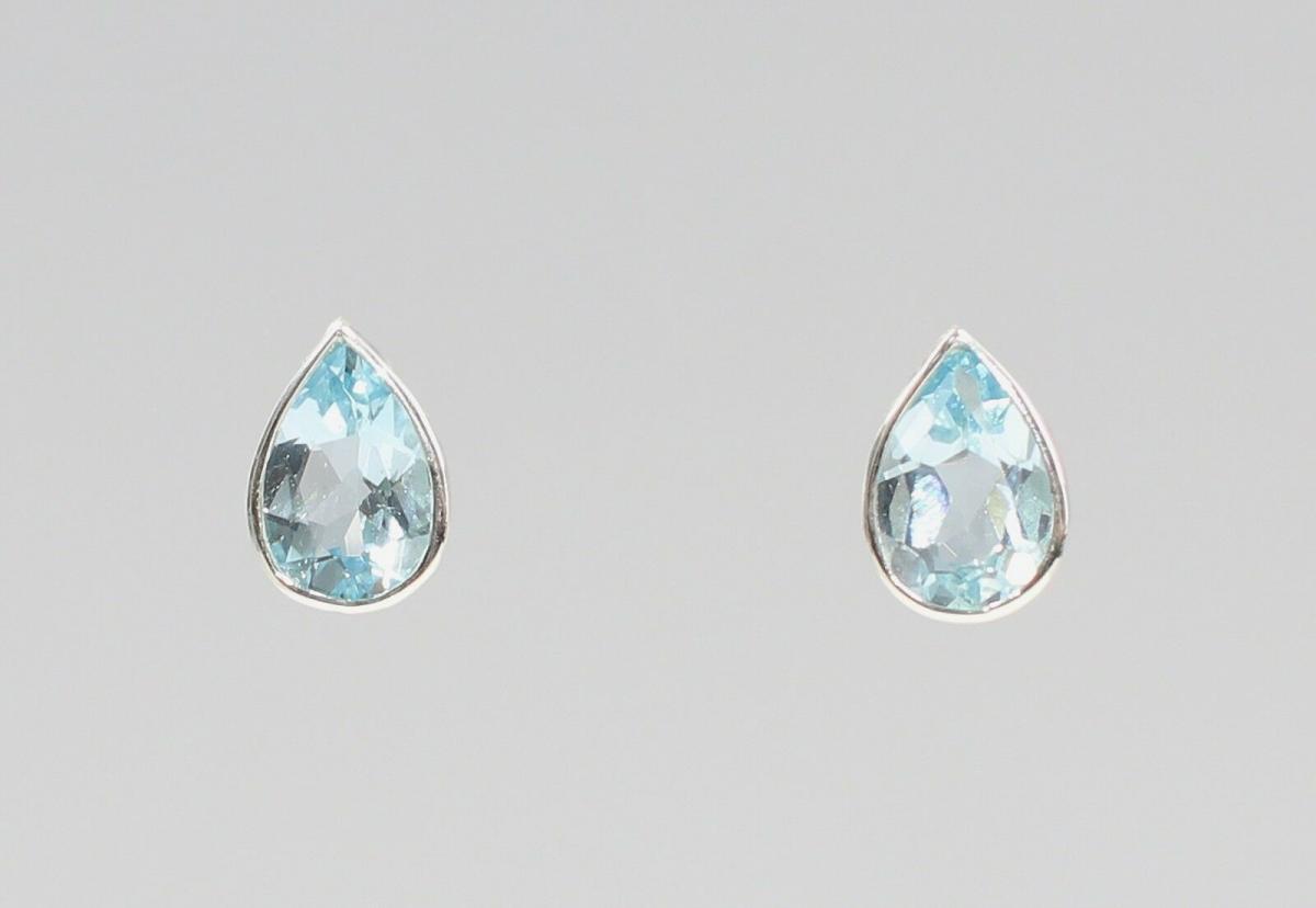 925er Silber Blautopas Ohrringe Tropfen 9927554