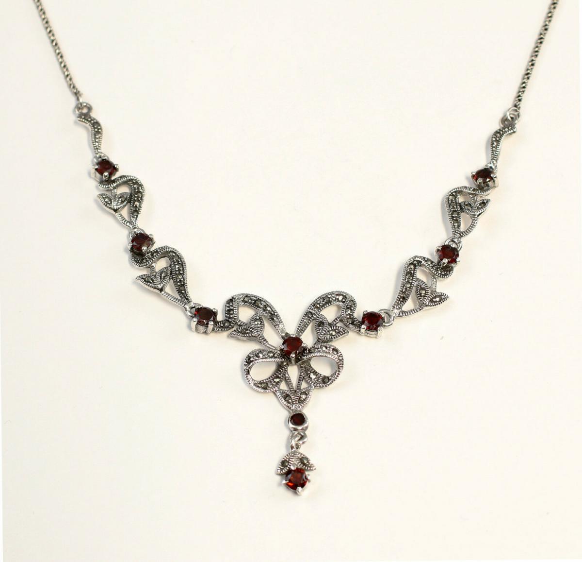 9927154 925er Silber Granat-Markasiten-Collier