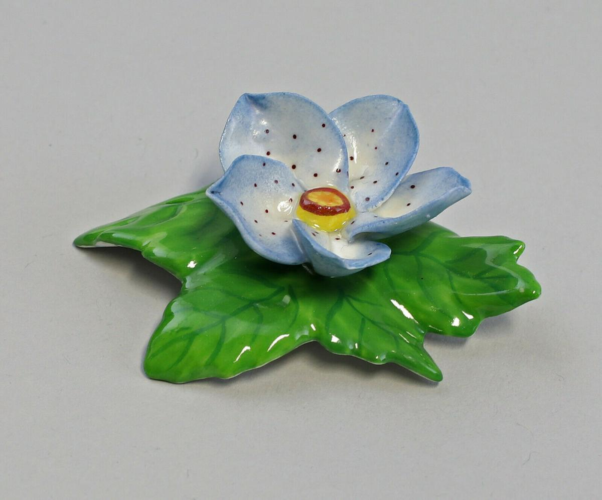 9959613 Porzellan Figur Tischblume Rose blau Ens 6,5x5x3cm