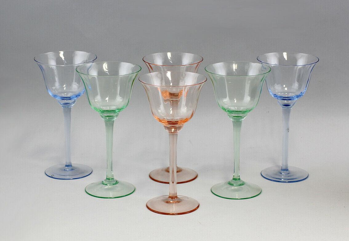 99835398 6 verschieden farbige Weingläser teils Uranglas Überfangglas