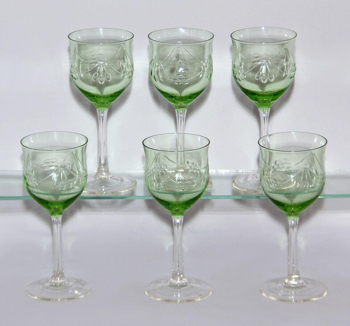 99835399 Satz 6 Weinrömer Weingläser um 1900 Kristallglas geschliffen